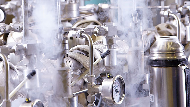 Close-up of lamp Xenon gas filling process