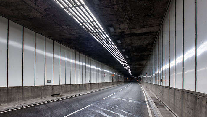 High-bay luminaires at Meir Tunnel